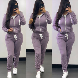 Sam Zip Up Jogger Set-(Lilac)