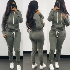 Misty Jogger Set-(Heather Grey)