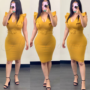 Executive Couture Midi Dress-(Mustard)