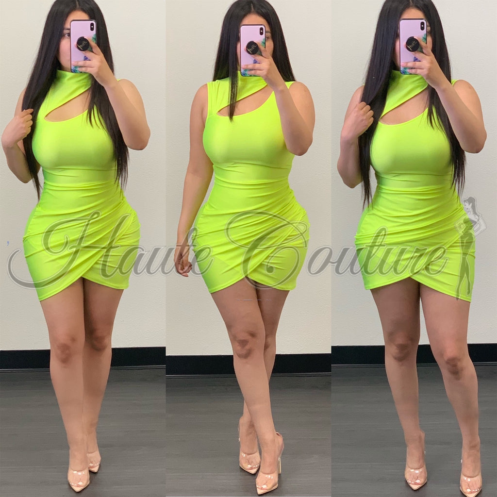 Posie Mini Dress-(Neon Green)