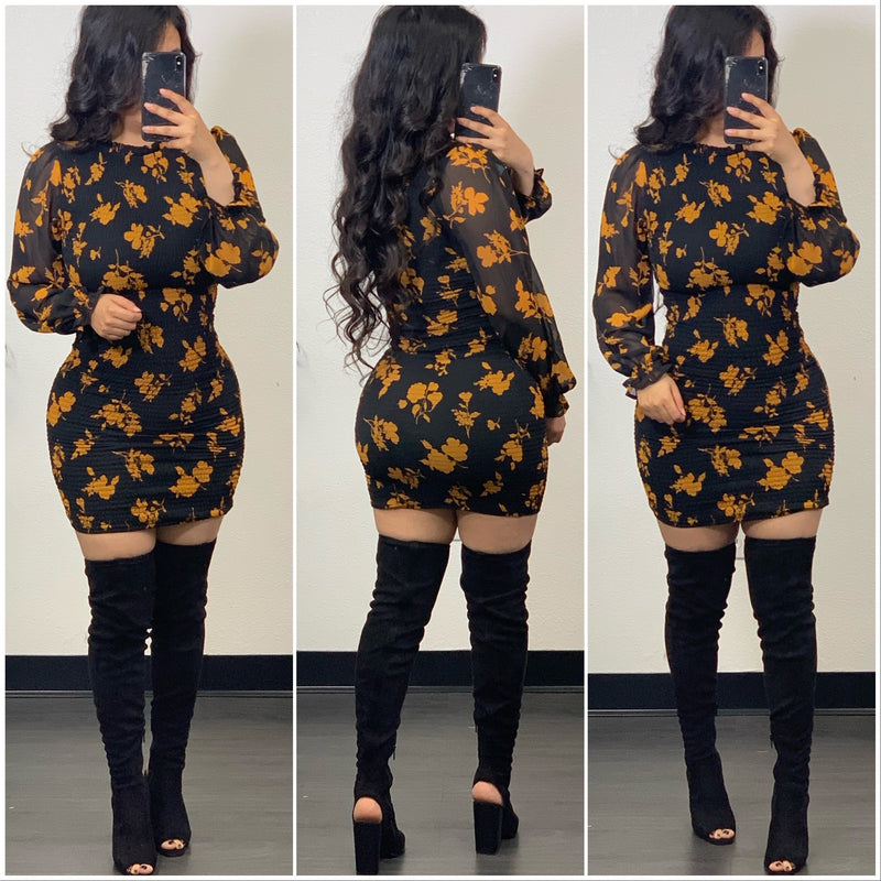 Marisol Mini Dress-(Mustard)