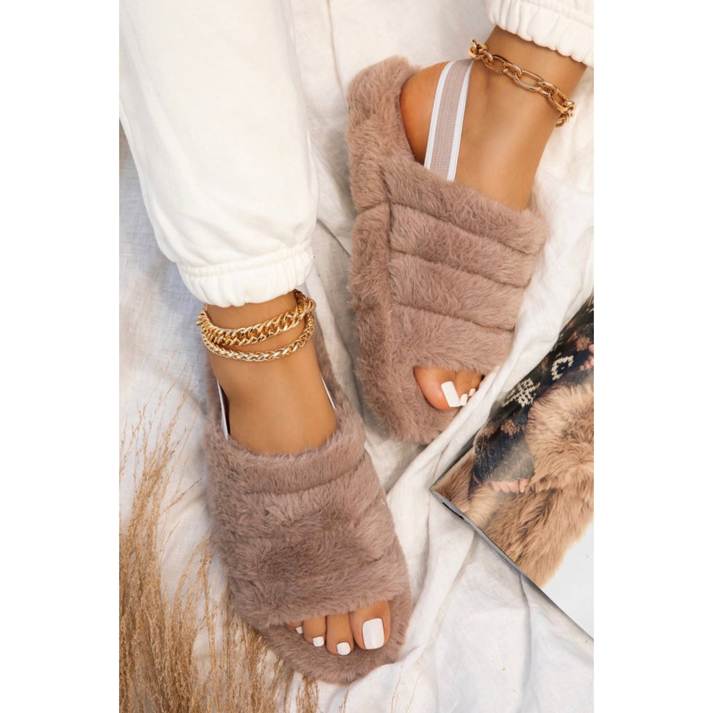 Fluff Slippers-(Tan/Nude)