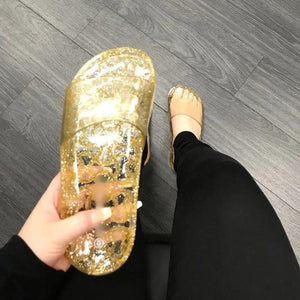 Jelly Slide Sandals- (Gold) - Haute Couture