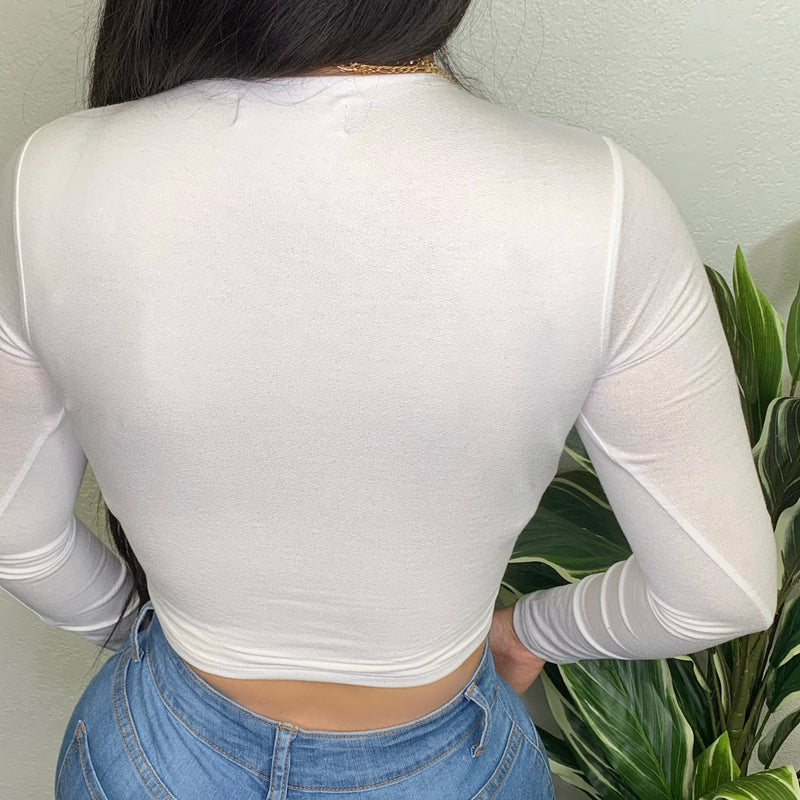 Ensely Crop Top-(White)