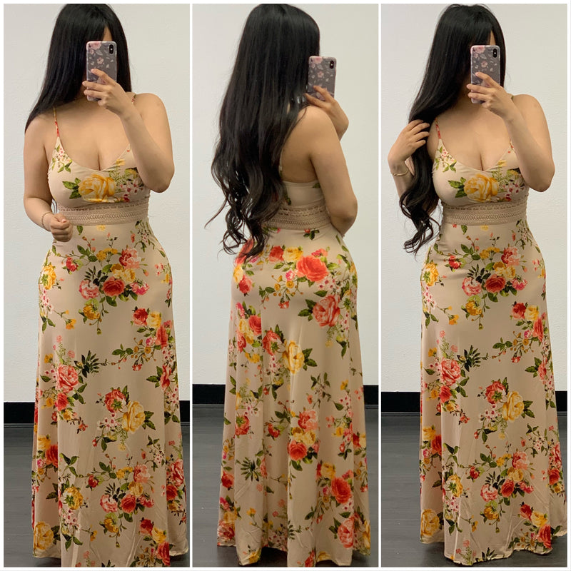 Marylu Maxi Dress-(Taupe)