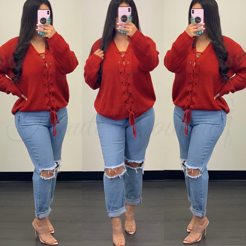 Hazel Oversized Top-(Red)