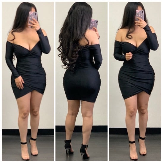 Sydney Mini Dress-(Black)