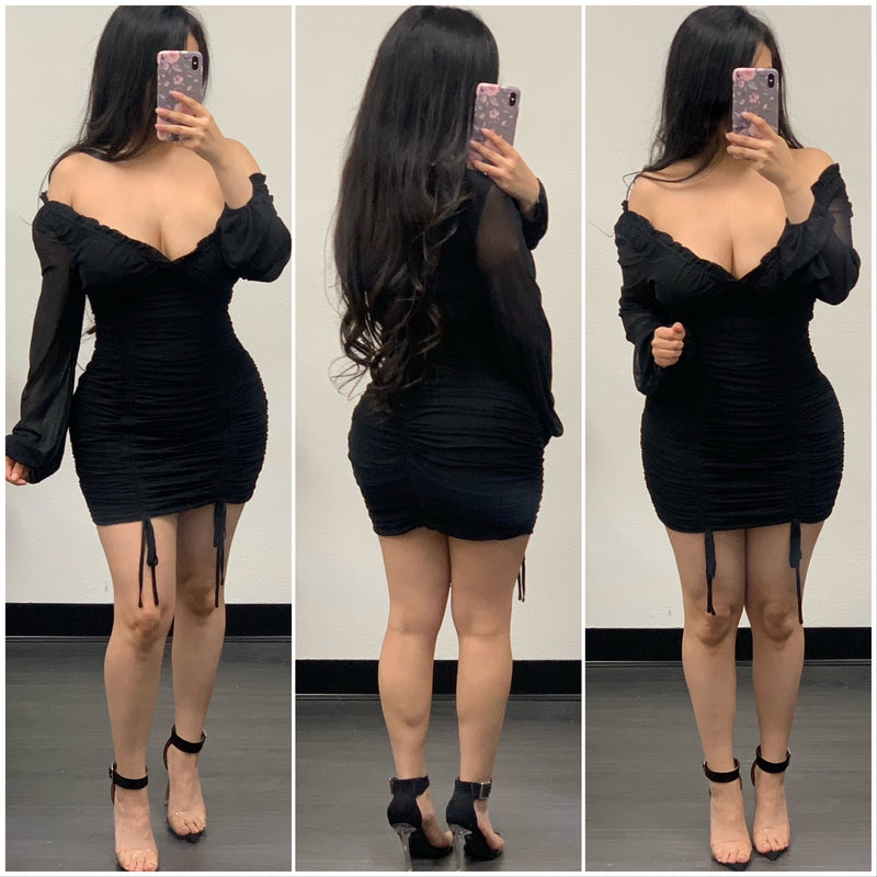 Leilani Mini Dress-(Black)