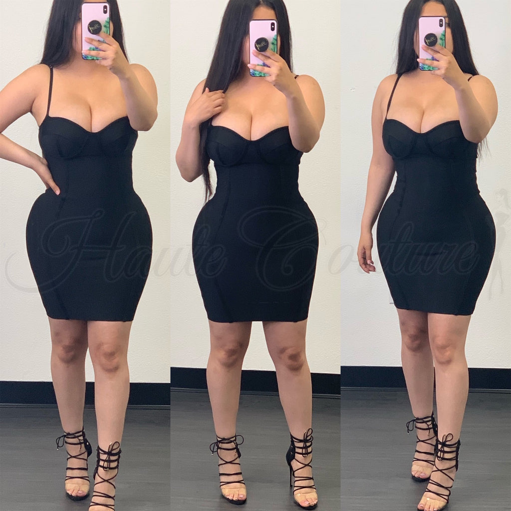 Aria Bustier Bandage Dress-(Black)