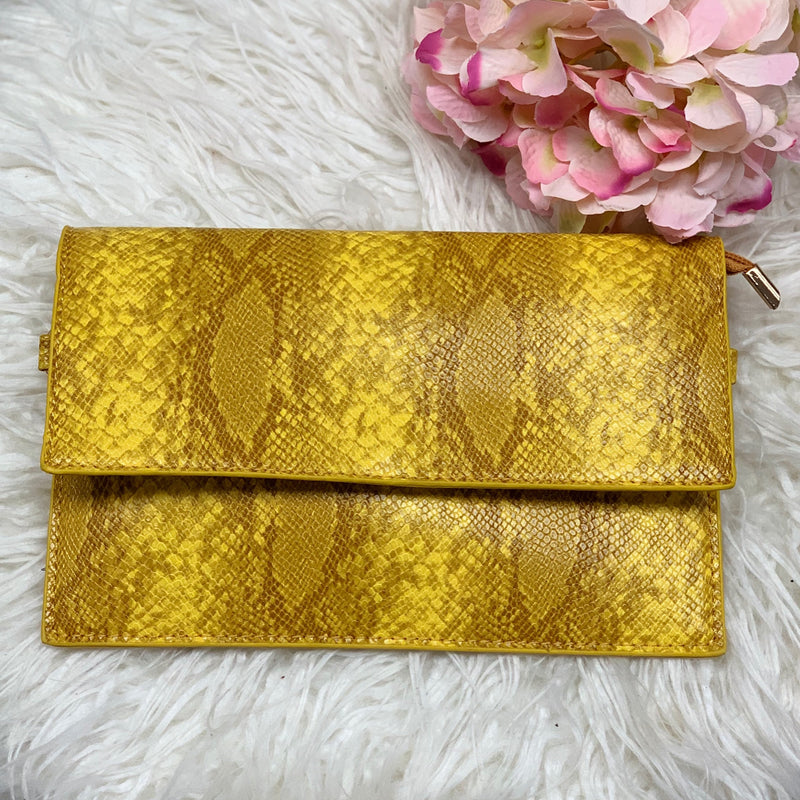 Snake Clutch-(Mustard) - Haute Couture