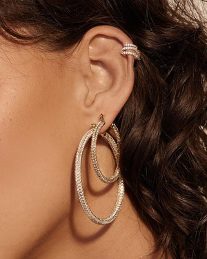 XL Pave Skinny Amalfi Hoops - Gold