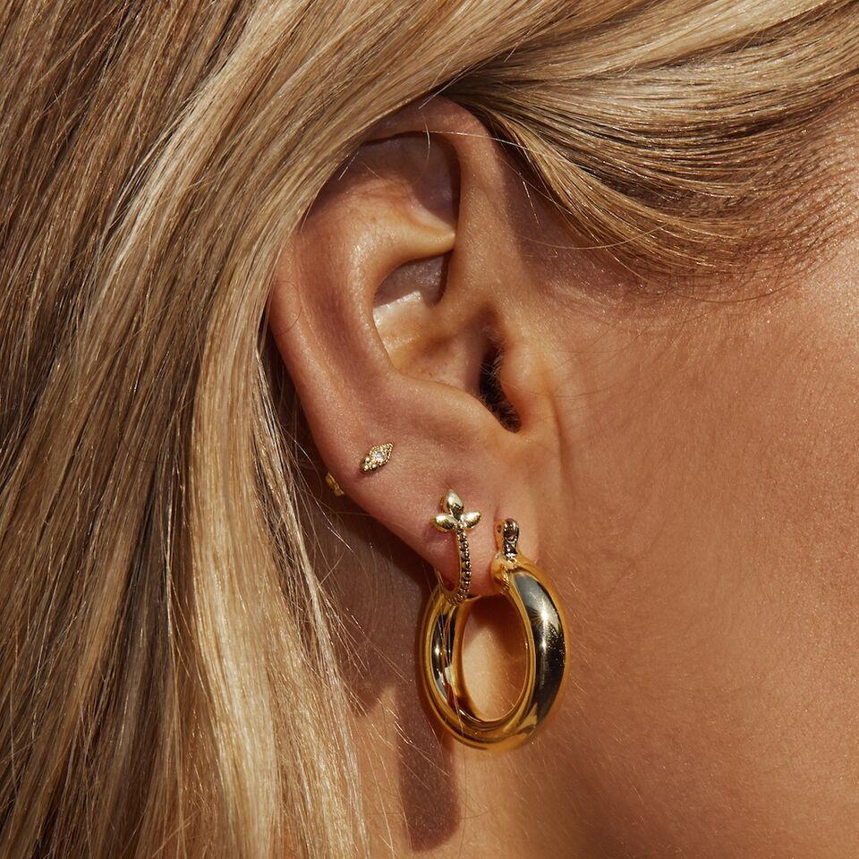 The Baby Amalfi Tube Hoops - Gold