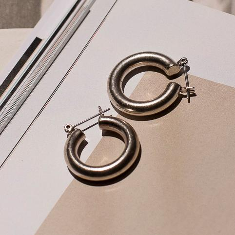 The Baby Amalfi Tube Hoops - Silver