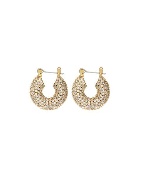The Pave Mini Donut Hoops - Gold