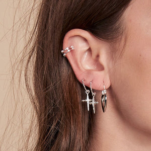 Pave Mini Cross Hoops- Silver