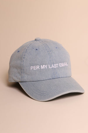 Per My Last Email Cap - Denim/White