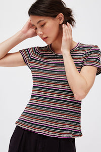 Striped Rib Baby Tee - Orchid Stripe