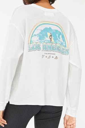 Longsleeve Crewneck - Surf Graphic Whitewash