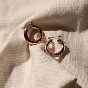 The Baby Amalfi Tube Hoops - Rose Gold