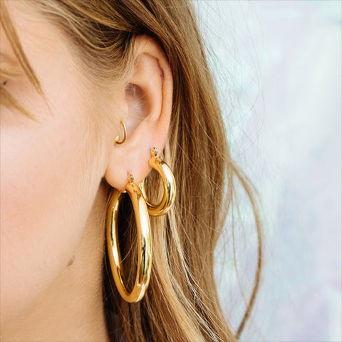 Amalfi Tube Hoops - Gold