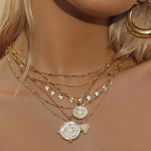The Evil Eye Double Coin Necklace - Gold