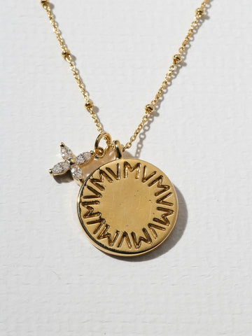 The Royals VM Logo & Flower Pendant Necklace - Gold