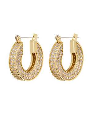 Pave Baby Celine Hoops - Gold