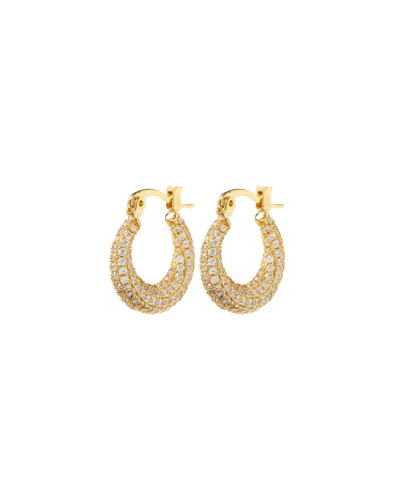 Pave Mini Martina Hoops - Gold