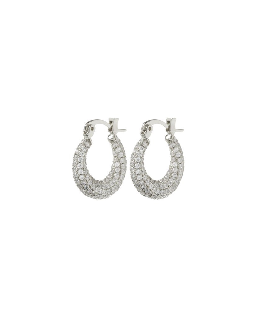 Pave Mini Martina Hoops - Silver