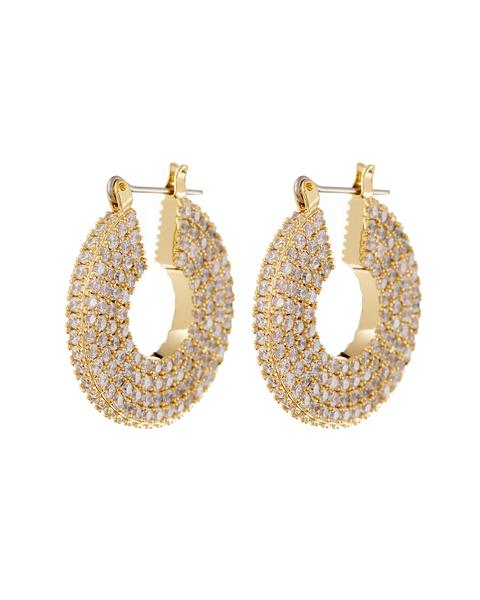 Pave Stefano Hoops - Gold