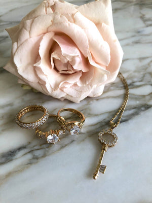 The Crystal Key Necklace - Gold