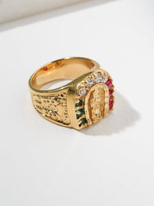 Mother Mary Horse Shoe Ring - Gold