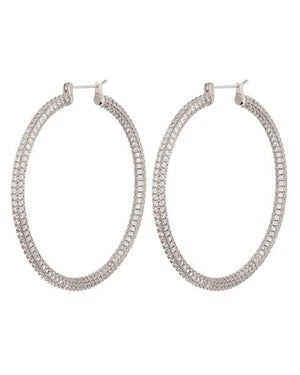 XL Pave Skinny Amalfi Hoops - Silver