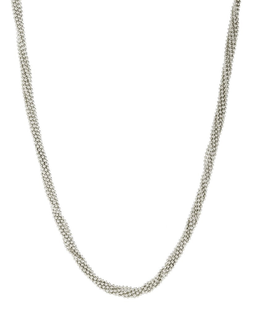 Twisted Bead Necklace -Silver