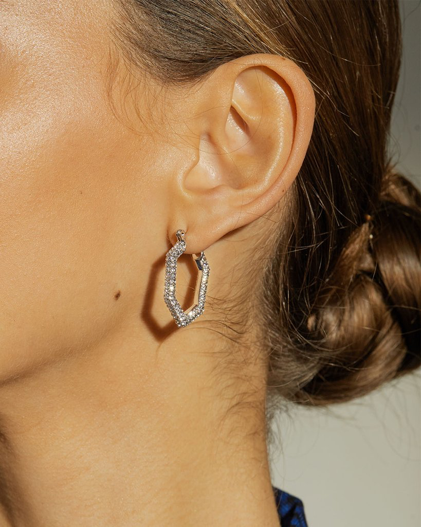 The Pave V Hoops - Silver