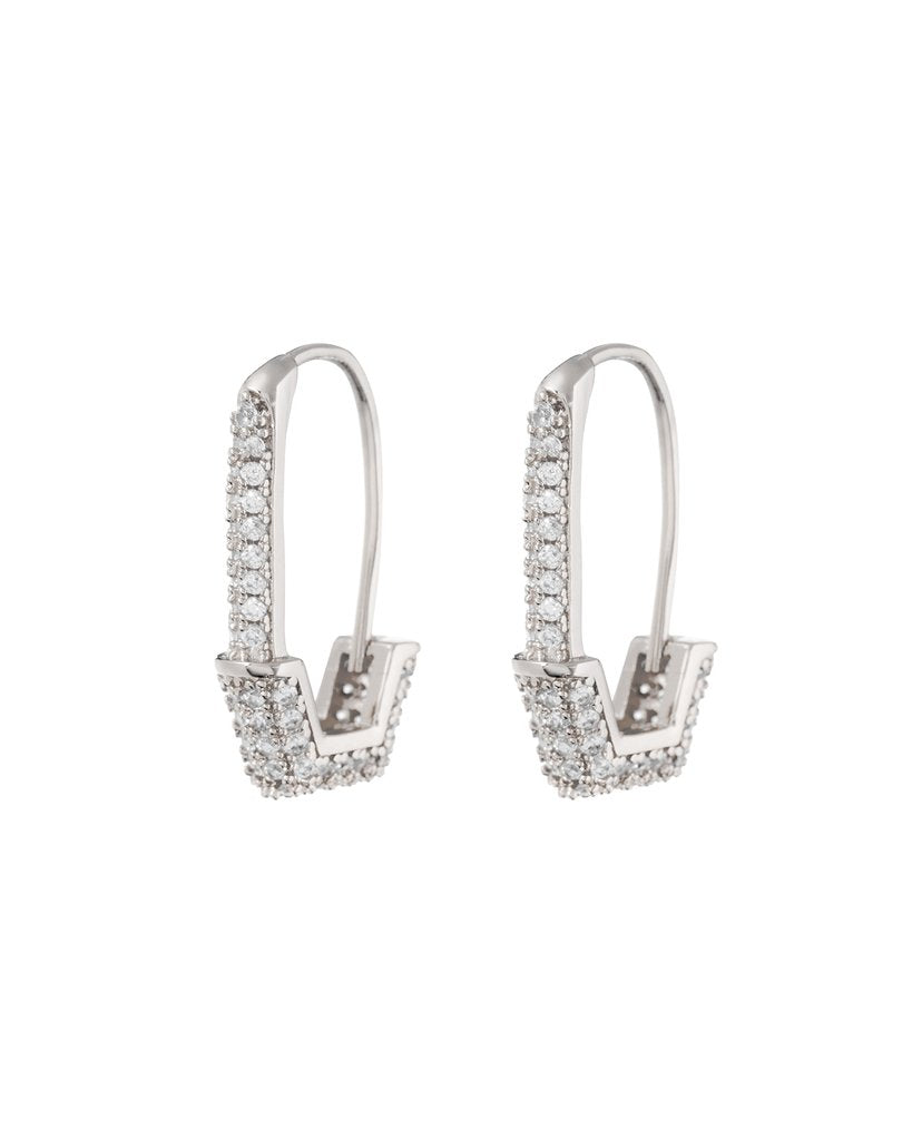 Pave Hex Safety Pin Earrings - Silver
