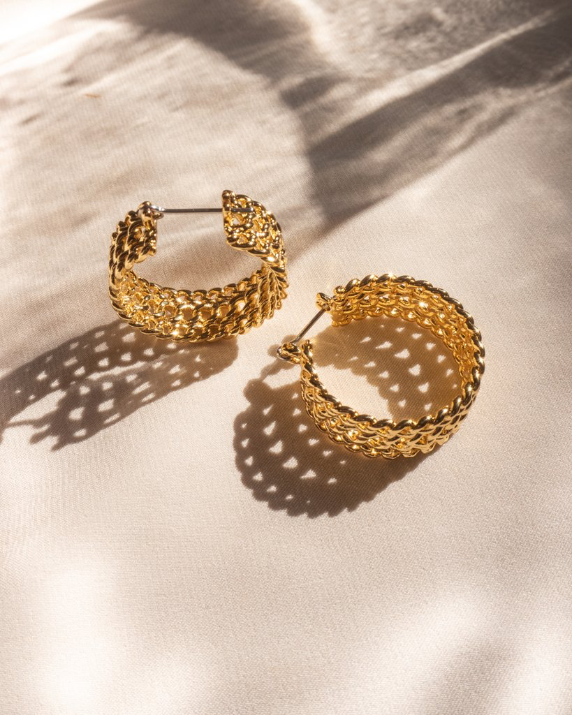 Margherita Chain Hoops - Gold