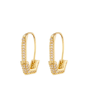 Pave Hex Safety Pin Earrings - Gold