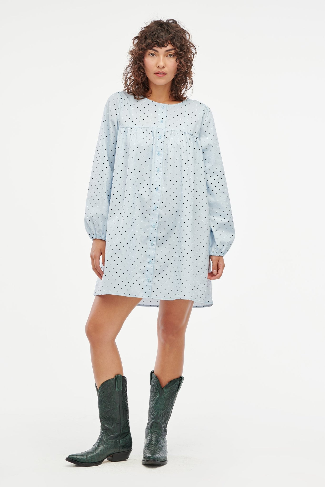 Avery Dress - Baby Blue Dot