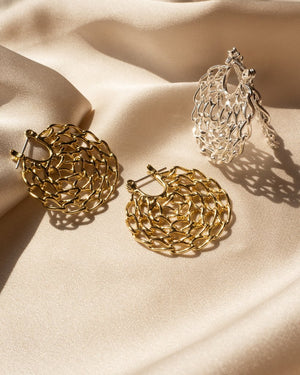The Mini Twisted Chain Hoops - Gold
