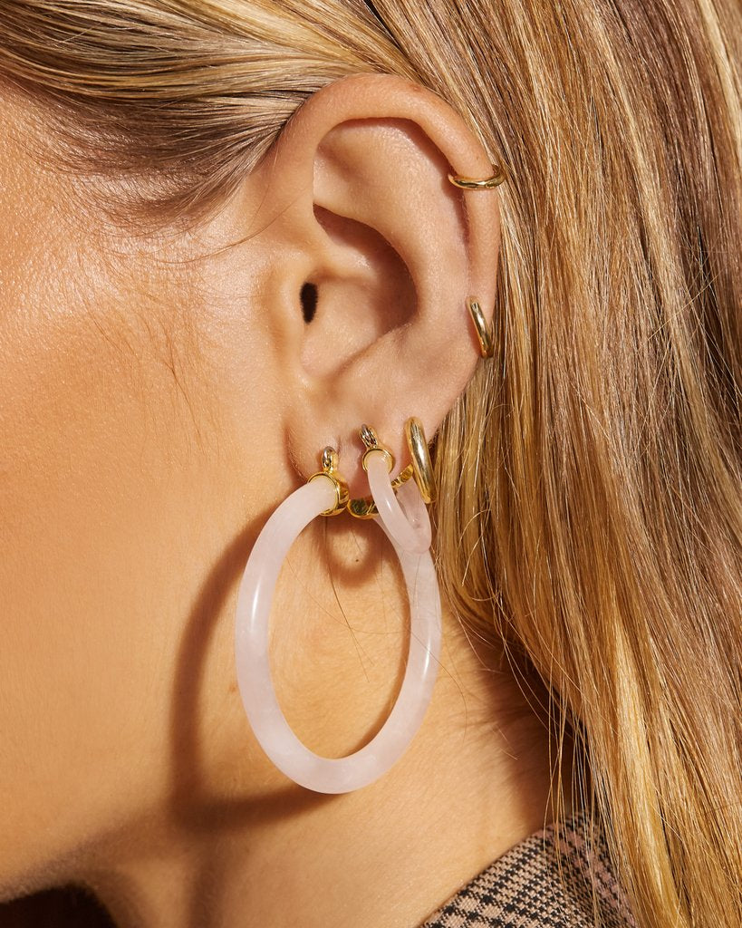 Stone Amalfi Hoops - Rose Quartz