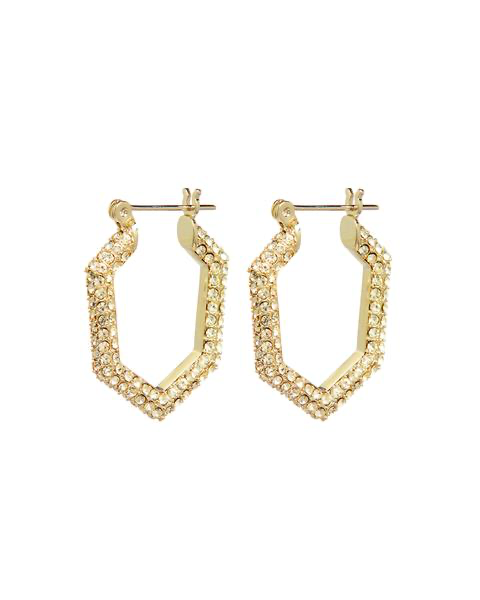 The Pave V Hoops - Gold