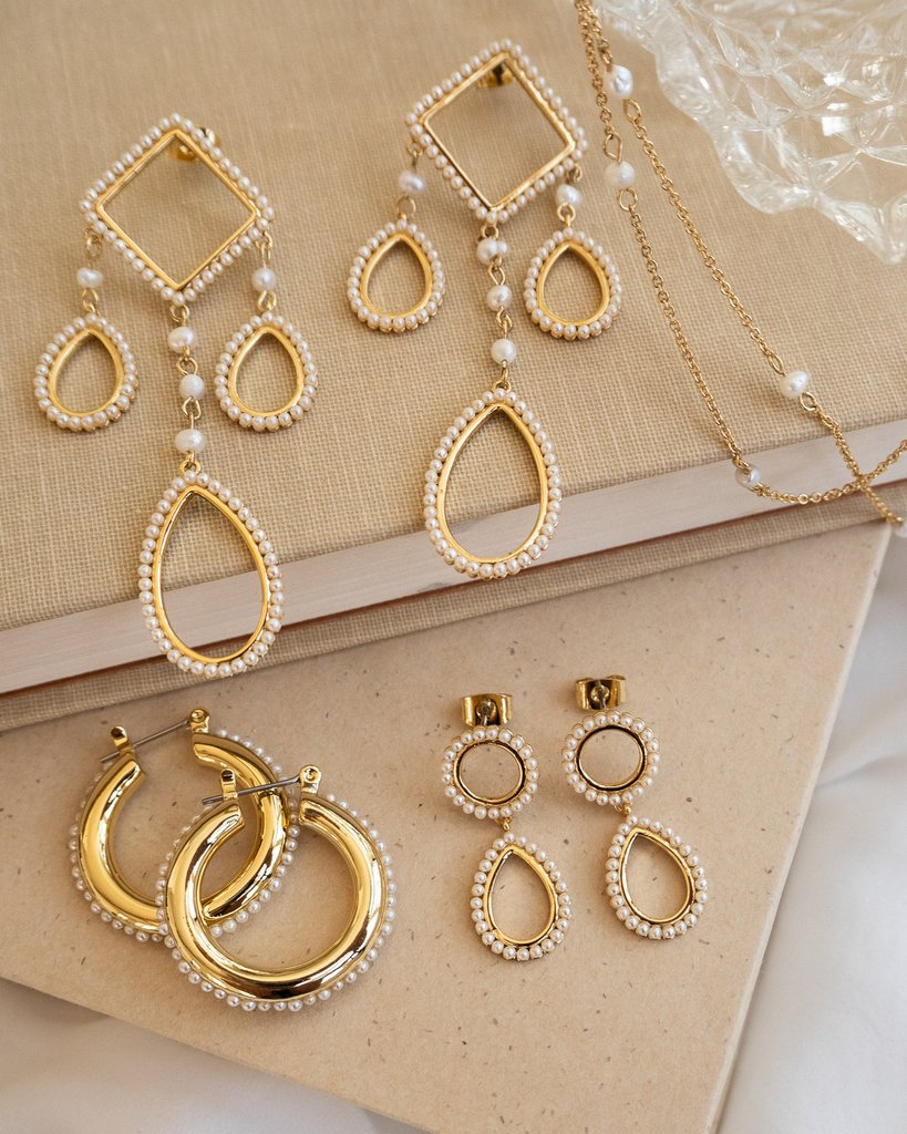 The Pearl Baby Amalfi Hoops - Gold