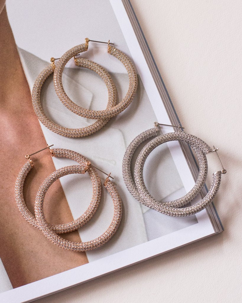 Pave Amalfi Hoops - Rose Gold