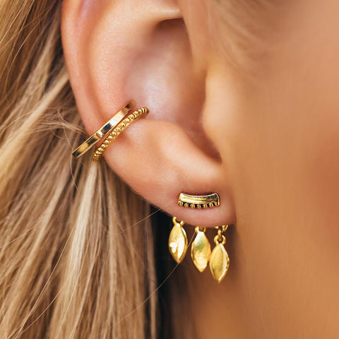 Marquise Dangle Studs - Gold
