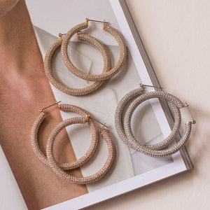 Pave Amalfi Hoops - Gold