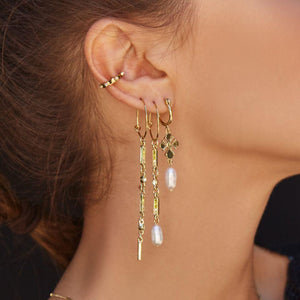 Ombre + Freshwater Pearl Drop Hoops - Gold