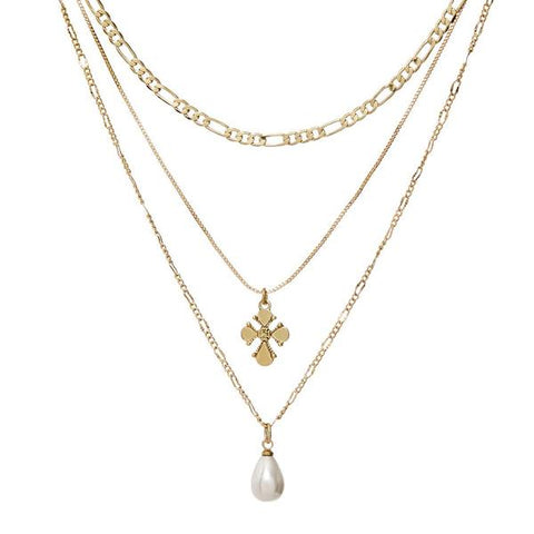 Nouveau Cross + Freshwater Pearl Charm Necklace - Gold