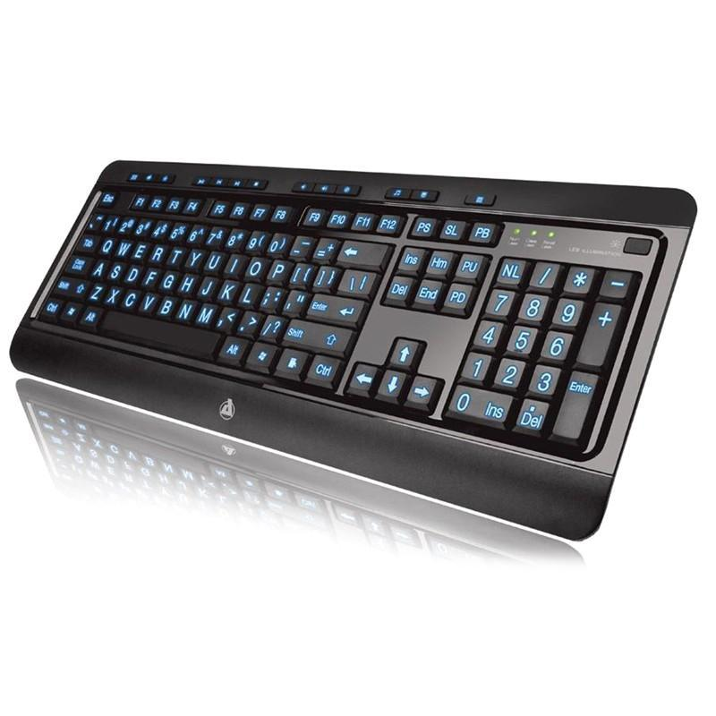 AZIO Large Print Tri-Color Illuminated Keyboard KB505U
