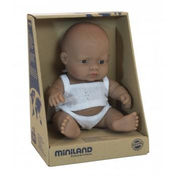 Miniland Anatomically Correct Baby Doll Latin American Boy 21cm Dressed